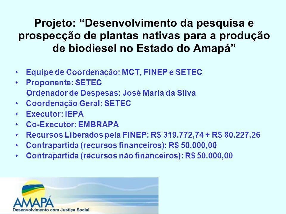 Projeto: Desenvolvimento da pesquisa e prospecção de plantas nativas para a produção de biodiesel no Estado do Amapá Equipe de Coordenação: MCT, FINEP e SETEC Proponente: SETEC Ordenador de Despesas: José Maria da Silva Coordenação Geral: SETEC Executor: IEPA Co-Executor: EMBRAPA Recursos Liberados pela FINEP: R$ 319.772,74 + R$ 80.227,26 Contrapartida (recursos financeiros): R$ 50.000,00 Contrapartida (recursos não financeiros): R$ 50.000,00