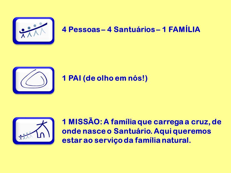 4 Pessoas – 4 Santuários – 1 FAMÍLIA 1 PAI (de olho em nós!) 1 MISSÃO: A família que carrega a cruz, de onde nasce o Santuário.