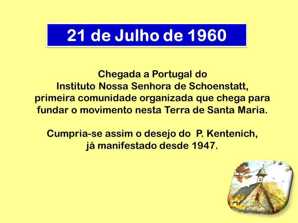 1 de Setembro de 1960 Portugueses, vindos de todo o país, realizaram uma peregrinação a Schoenstatt – Alemanha – em gratidão e compromisso com a fundação do Movimento em Portugal.