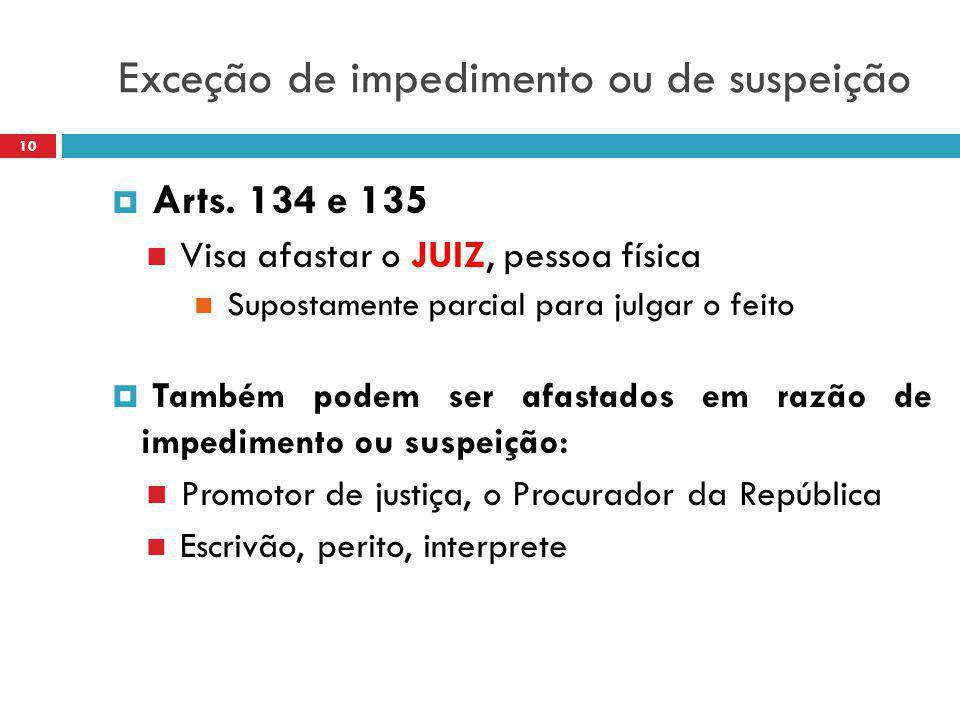 Exceção de impedimento ou de suspeição  Arts. 134 e 135 Visa afastar o JUIZ, pessoa física Supostamente parcial para julgar o feito  Também podem se
