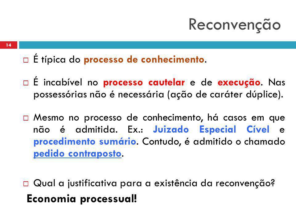 Reconvenção  É típica do processo de conhecimento.  É incabível no processo cautelar e de execução. Nas possessórias não é necessária (ação de carát