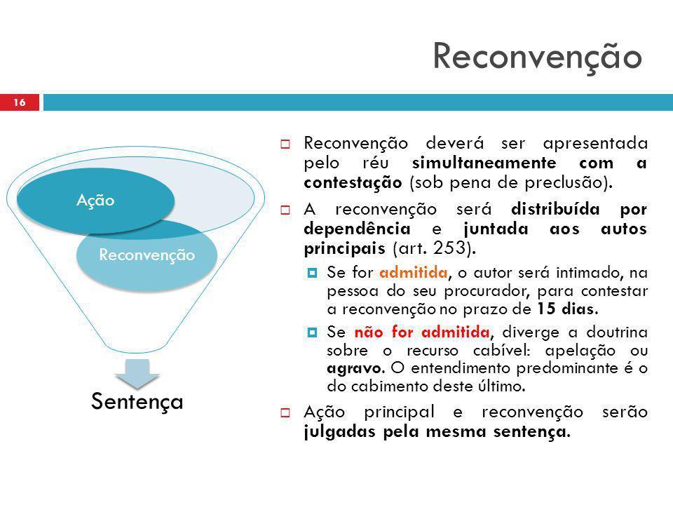 Reconvenção  Reconvenção deverá ser apresentada pelo réu simultaneamente com a contestação (sob pena de preclusão).  A reconvenção será distribuída