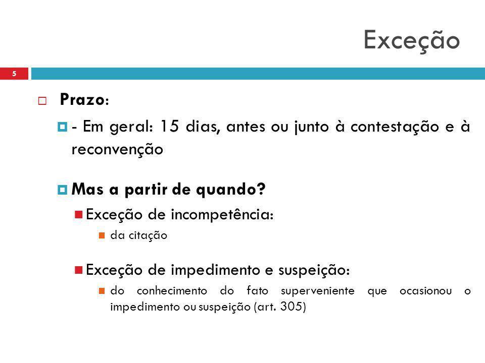 Exceção  Prazo:  - Em geral: 15 dias, antes ou junto à contestação e à reconvenção  Mas a partir de quando? Exceção de incompetência: da citação Ex