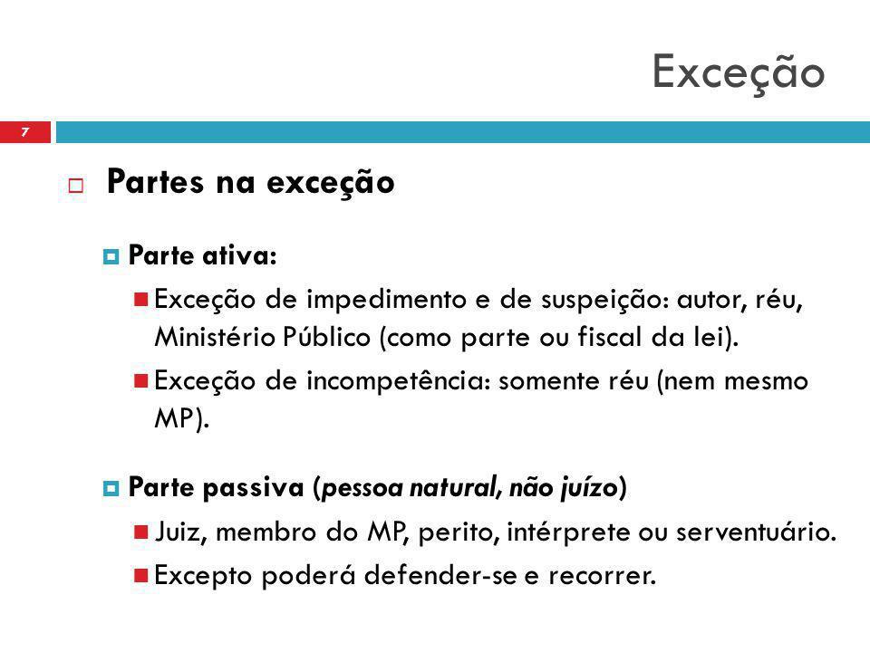 Exceção  Partes na exceção  Parte ativa: Exceção de impedimento e de suspeição: autor, réu, Ministério Público (como parte ou fiscal da lei). Exceçã