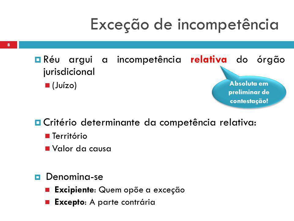 Exceção de incompetência  Réu argui a incompetência relativa do órgão jurisdicional (Juízo)  Critério determinante da competência relativa: Territór