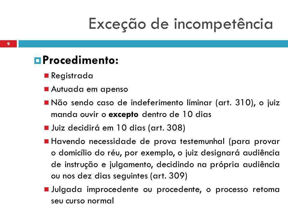 Exceção de incompetência  Procedimento: Registrada Autuada em apenso Não sendo caso de indeferimento liminar (art. 310), o juiz manda ouvir o excepto