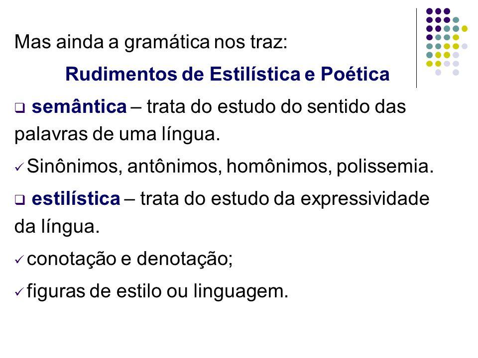 Mas ainda a gramática nos traz: Rudimentos de Estilística e Poética  semântica – trata do estudo do sentido das palavras de uma língua. Sinônimos, an
