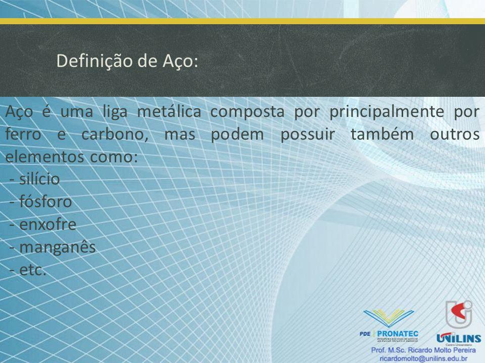 Definição de Aço: Aço é uma liga metálica composta por principalmente por ferro e carbono, mas podem possuir também outros elementos como: - silício -