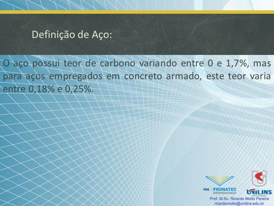 Definição de Aço: O aço possui teor de carbono variando entre 0 e 1,7%, mas para aços empregados em concreto armado, este teor varia entre 0,18% e 0,2