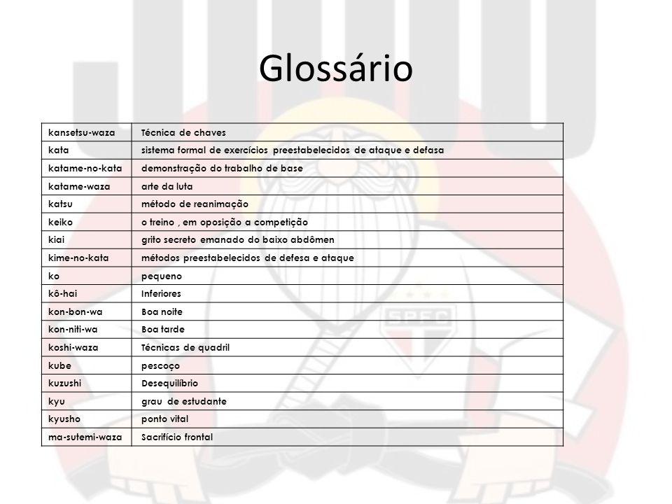 Glossário kansetsu-waza Técnica de chaves kata sistema formal de exercícios preestabelecidos de ataque e defasa katame-no-kata demonstração do trabalh