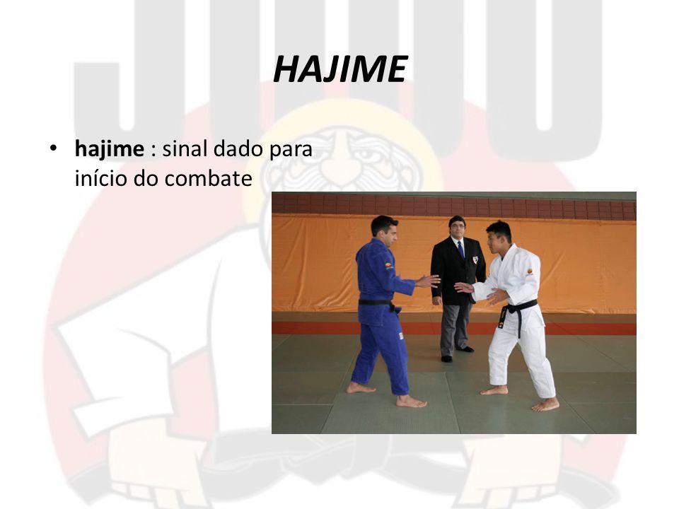 MATE mate : pára a disputa e também o tempo de competição, usado para quando um lutador sai da área de competição, comete uma falta, para arrumar o quimono ou em caso de ferimento