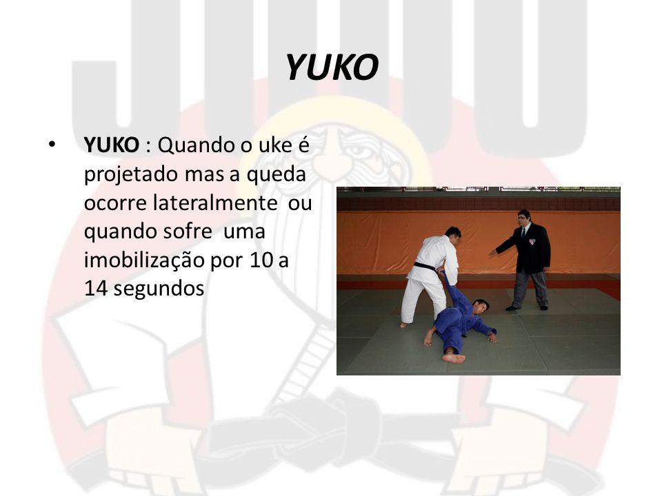 YUKO YUKO : Quando o uke é projetado mas a queda ocorre lateralmente ou quando sofre uma imobilização por 10 a 14 segundos