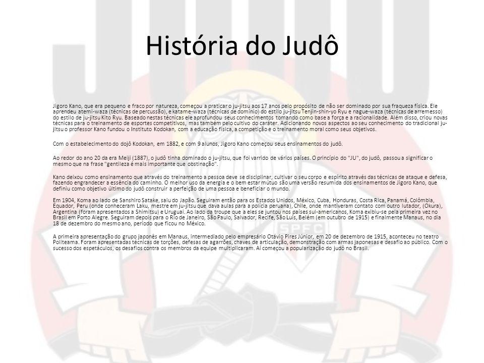 História do Judô Jigoro Kano, que era pequeno e fraco por natureza, começou a praticar o ju-jitsu aos 17 anos pelo propósito de não ser dominado por s