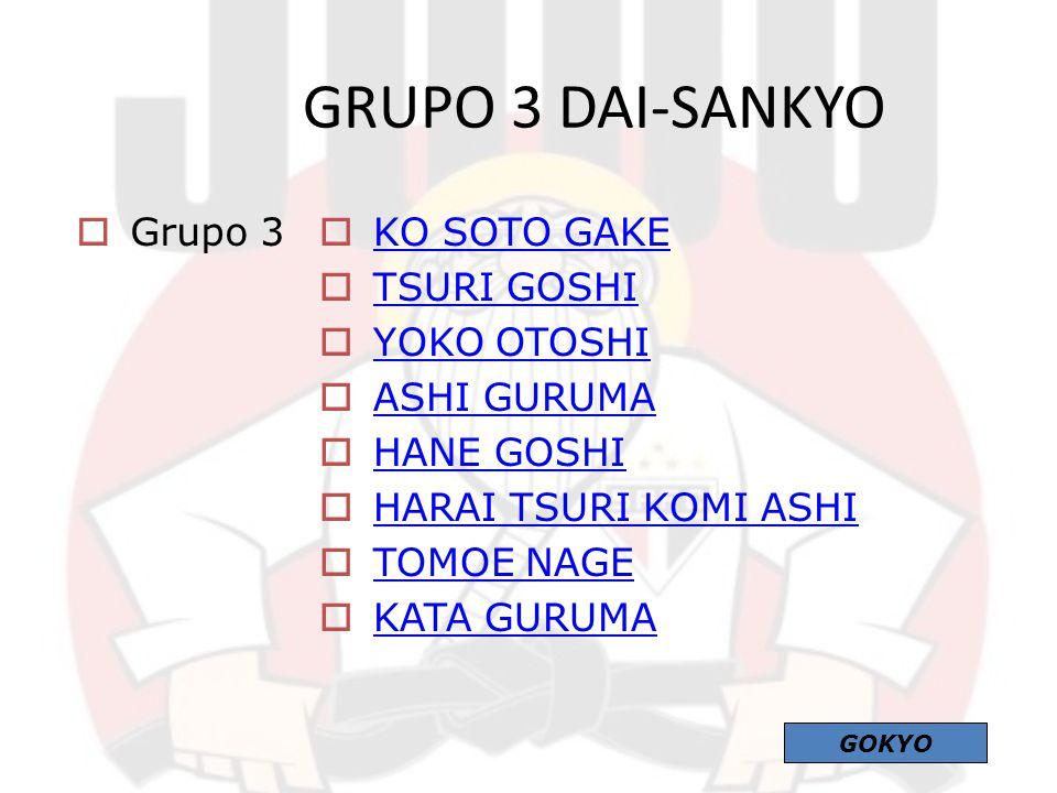  Grupo 3  KO SOTO GAKE KO SOTO GAKE  TSURI GOSHI TSURI GOSHI  YOKO OTOSHI YOKO OTOSHI  ASHI GURUMA ASHI GURUMA  HANE GOSHI HANE GOSHI  HARAI TS
