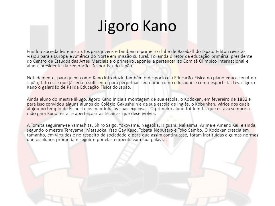 Jigoro Kano Fundou sociedades e institutos para jovens e também o primeiro clube de Baseball do Japão. Editou revistas, viajou para a Europa e América