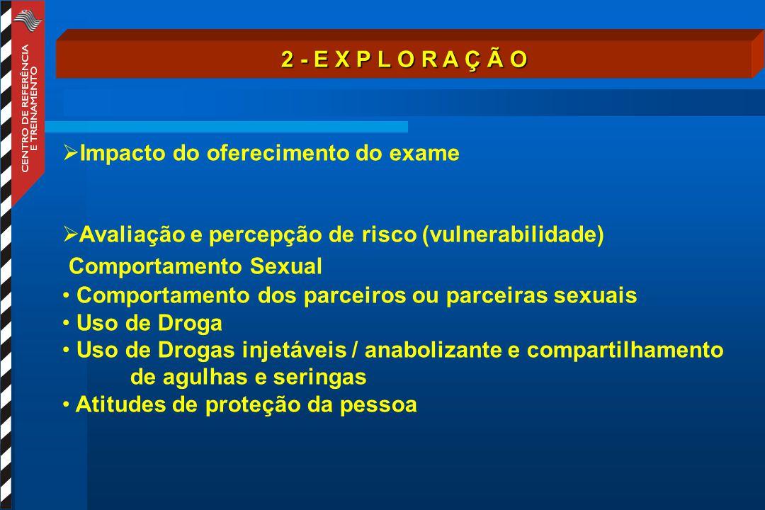 2 - E X P L O R A Ç Ã O  Impacto do oferecimento do exame  Avaliação e percepção de risco (vulnerabilidade) Comportamento Sexual Comportamento dos p