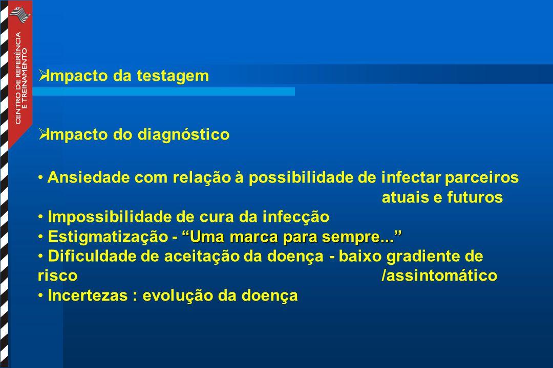  Impacto da testagem  Impacto do diagnóstico Ansiedade com relação à possibilidade de infectar parceiros atuais e futuros Impossibilidade de cura da