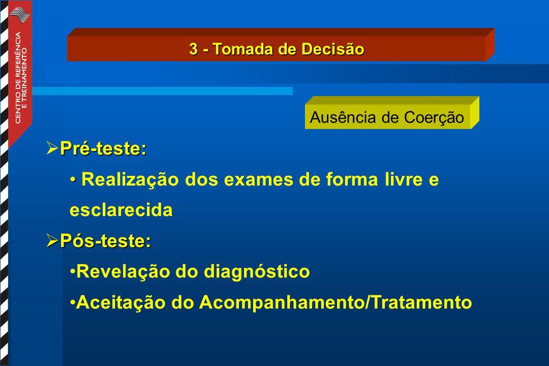 3 - Tomada de Decisão Ausência de Coerção Pré-teste:  Pré-teste: Realização dos exames de forma livre e esclarecida  Pós-teste: Revelação do diagnóstico Aceitação do Acompanhamento/Tratamento