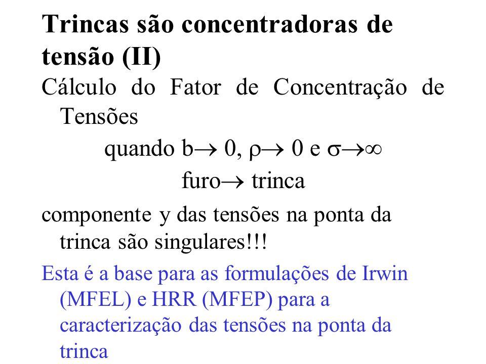Trincas são concentradoras de tensão (II) Cálculo do Fator de Concentração de Tensões quando b  0,  0 e  furo  trinca componente y das tensões