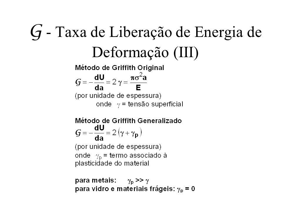 G - Taxa de Liberação de Energia de Deformação (III)