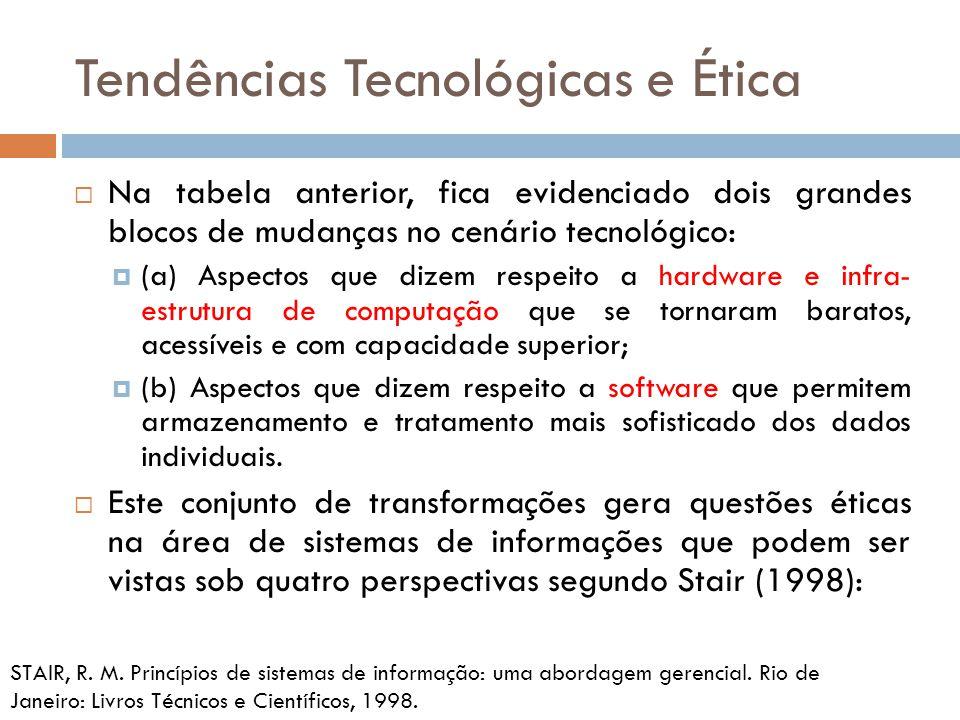 Tendências Tecnológicas e Ética  Na tabela anterior, fica evidenciado dois grandes blocos de mudanças no cenário tecnológico:  (a) Aspectos que dize