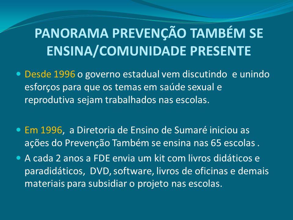 PANORAMA PREVENÇÃO TAMBÉM SE ENSINA/COMUNIDADE PRESENTE Desde 1996 o governo estadual vem discutindo e unindo esforços para que os temas em saúde sexu