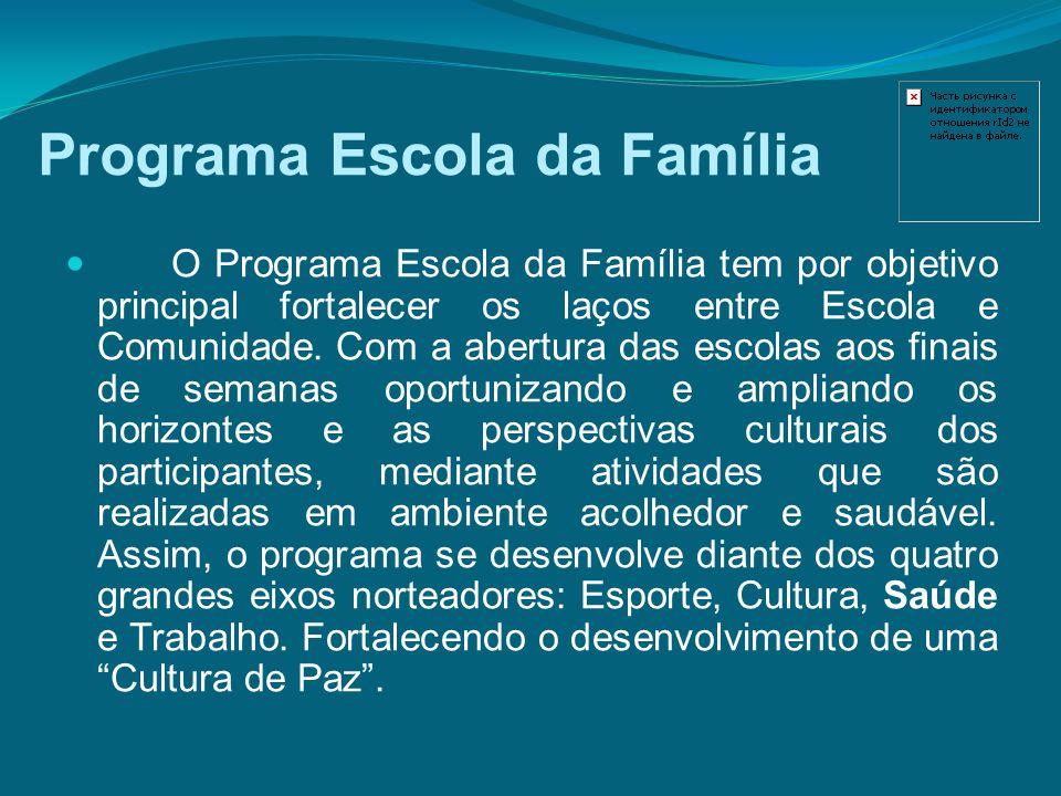 Programa Escola da Família O Programa Escola da Família tem por objetivo principal fortalecer os laços entre Escola e Comunidade. Com a abertura das e