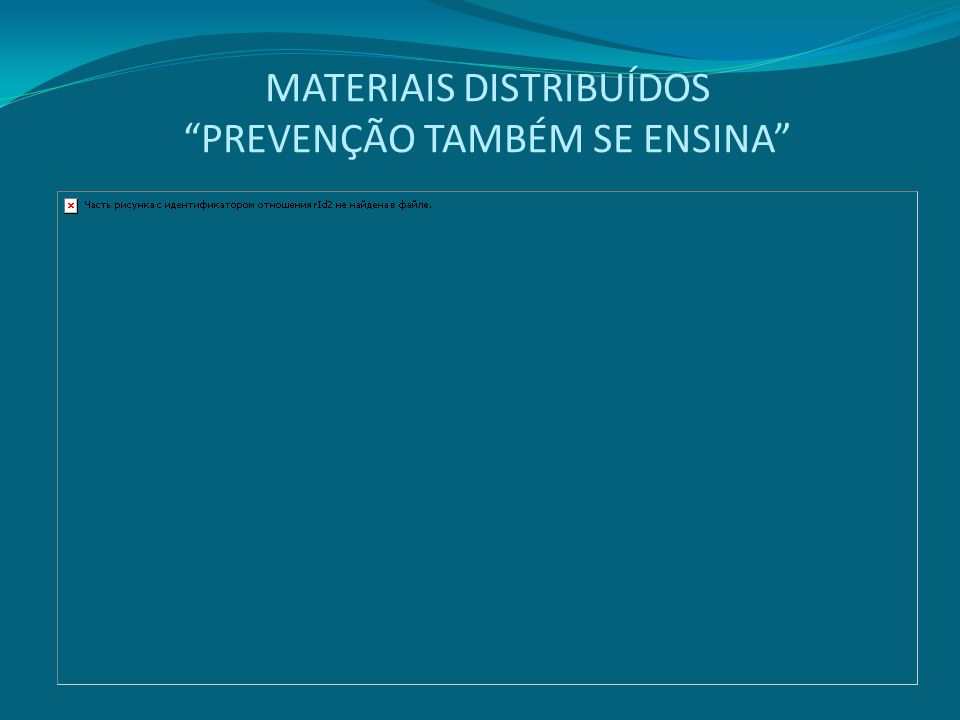 """MATERIAIS DISTRIBUÍDOS """"PREVENÇÃO TAMBÉM SE ENSINA"""""""