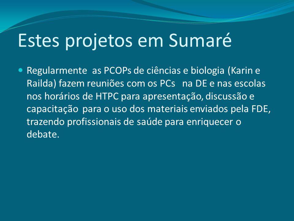 Estes projetos em Sumaré Regularmente as PCOPs de ciências e biologia (Karin e Railda) fazem reuniões com os PCs na DE e nas escolas nos horários de H