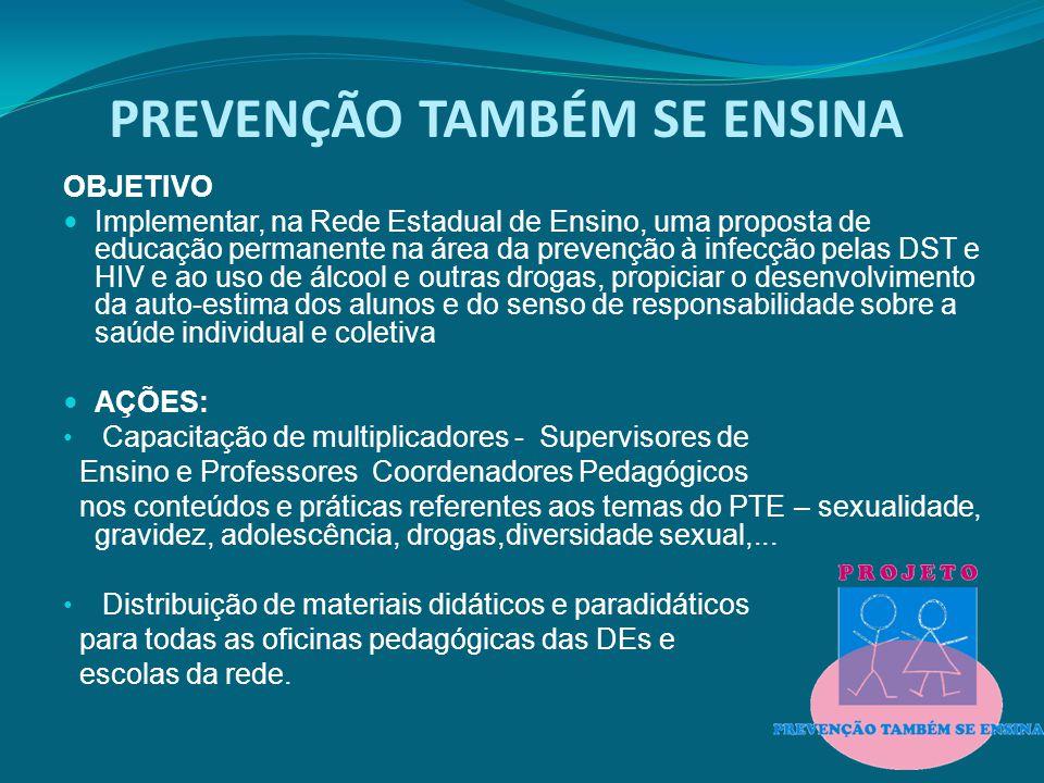 PREVENÇÃO TAMBÉM SE ENSINA OBJETIVO Implementar, na Rede Estadual de Ensino, uma proposta de educação permanente na área da prevenção à infecção pelas