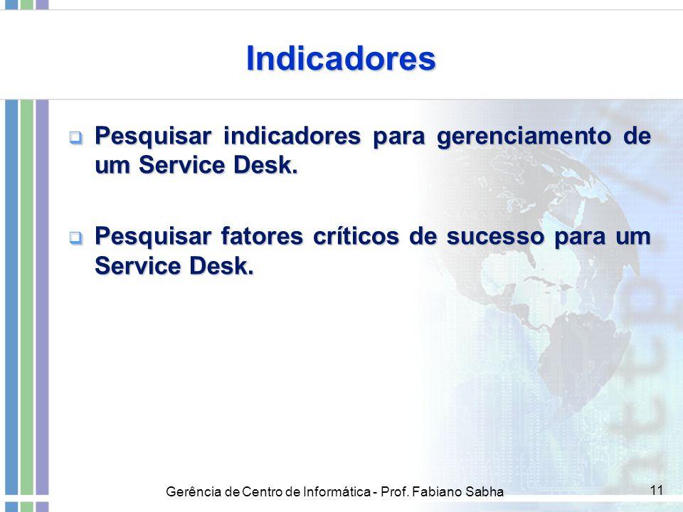 Gerência de Centro de Informática - Prof. Fabiano Sabha 11 Indicadores  Pesquisar indicadores para gerenciamento de um Service Desk.  Pesquisar fato