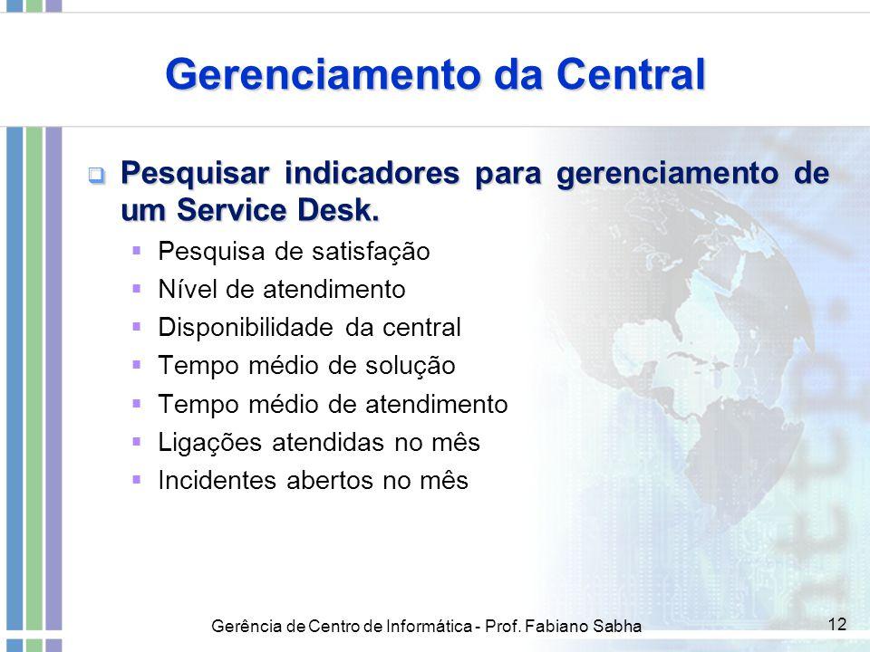 Gerência de Centro de Informática - Prof. Fabiano Sabha 12 Gerenciamento da Central  Pesquisar indicadores para gerenciamento de um Service Desk.  P