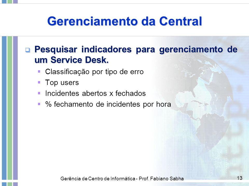 Gerência de Centro de Informática - Prof. Fabiano Sabha 13 Gerenciamento da Central  Pesquisar indicadores para gerenciamento de um Service Desk.  C