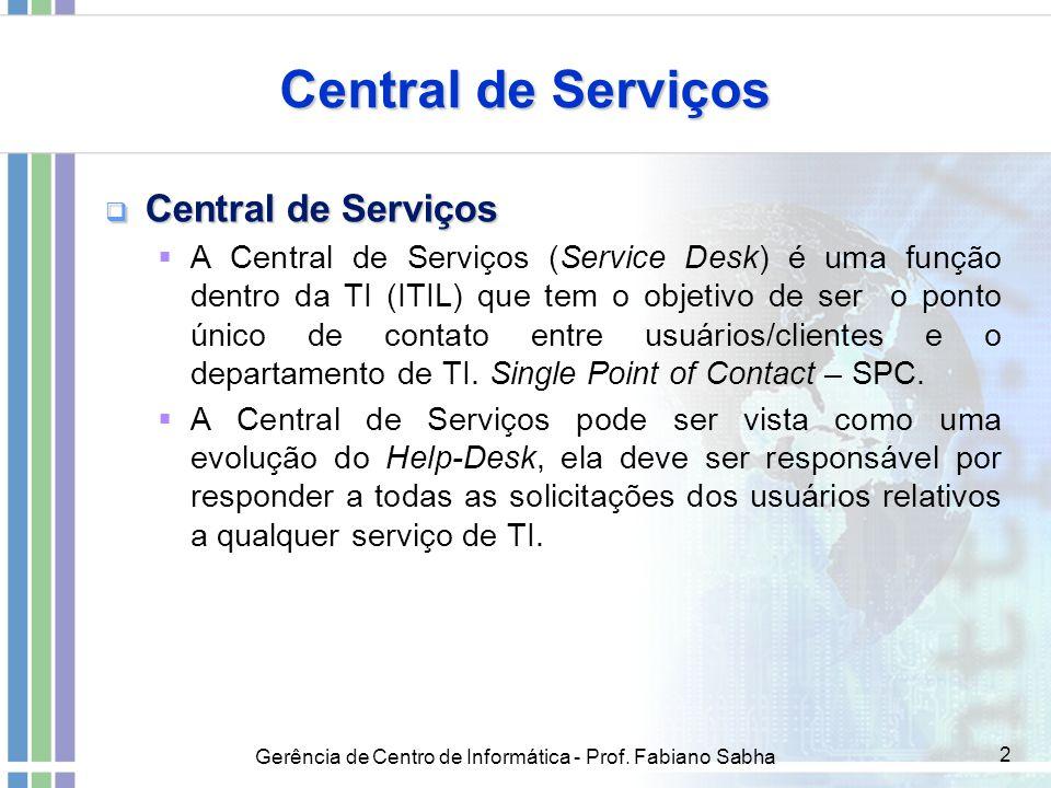 Gerência de Centro de Informática - Prof. Fabiano Sabha 2 Central de Serviços  Central de Serviços  A Central de Serviços (Service Desk) é uma funçã