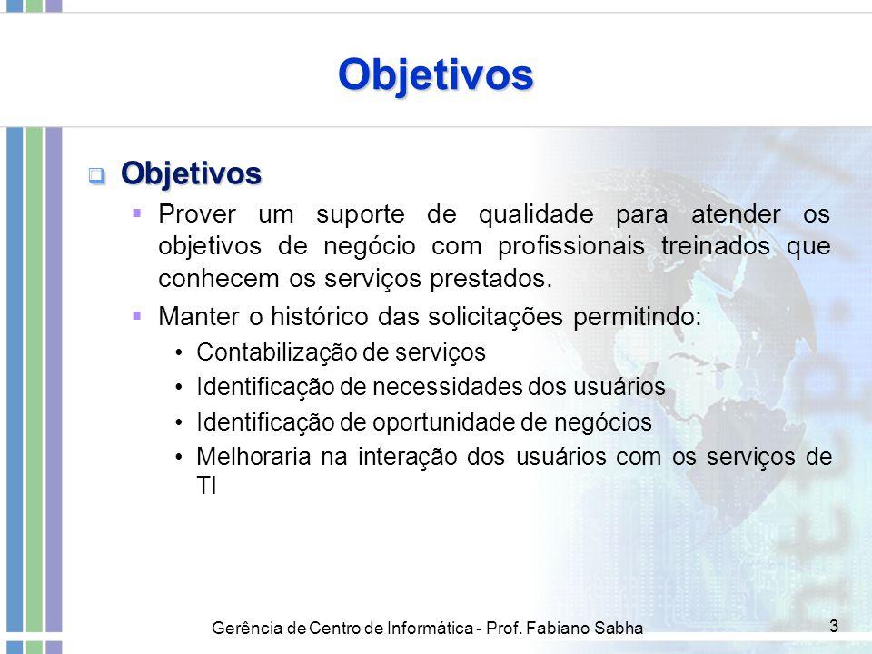 Gerência de Centro de Informática - Prof. Fabiano Sabha 3 Objetivos  Objetivos  Prover um suporte de qualidade para atender os objetivos de negócio
