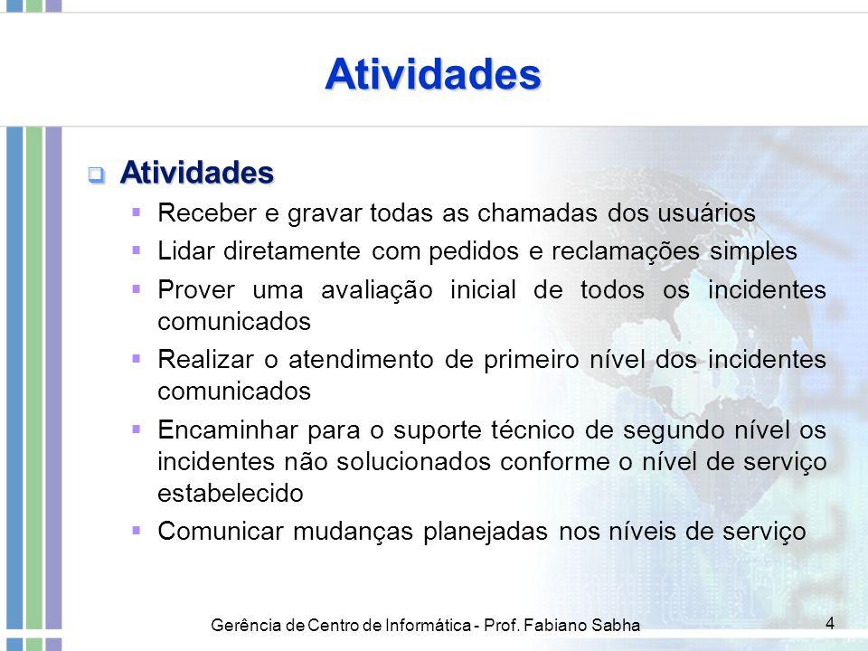 Gerência de Centro de Informática - Prof. Fabiano Sabha 4 Atividades  Atividades  Receber e gravar todas as chamadas dos usuários  Lidar diretament