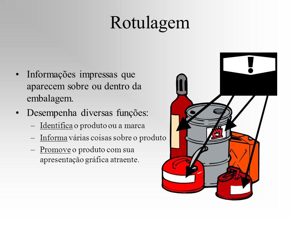 Rotulagem Informações impressas que aparecem sobre ou dentro da embalagem. Desempenha diversas funções: –Identifica o produto ou a marca –Informa vári