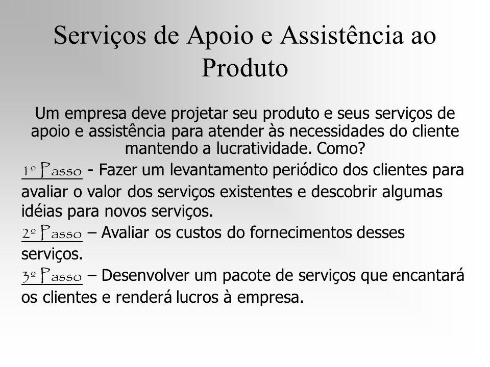 Serviços de Apoio e Assistência ao Produto Um empresa deve projetar seu produto e seus serviços de apoio e assistência para atender às necessidades do