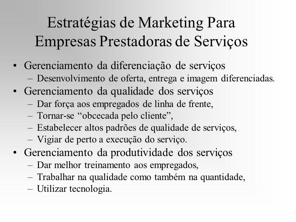 Estratégias de Marketing Para Empresas Prestadoras de Serviços Gerenciamento da diferenciação de serviços –Desenvolvimento de oferta, entrega e imagem
