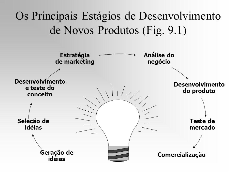 Geração de idéias Seleção de idéias Desenvolvimento e teste do conceito Estratégia de marketing Análise do negócio Desenvolvimento do produto Teste de