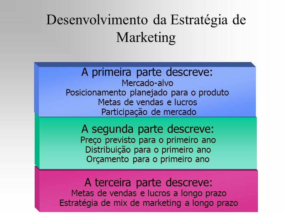 A terceira parte descreve: Metas de vendas e lucros a longo prazo Estratégia de mix de marketing a longo prazo A segunda parte descreve: Preço previst