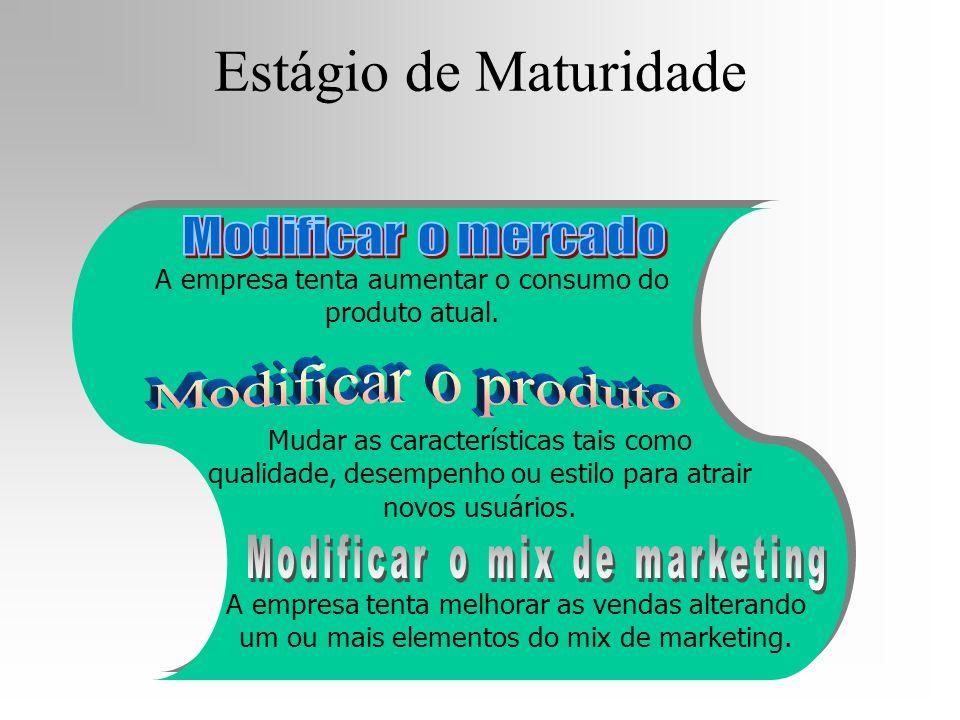 Estágio de Maturidade A empresa tenta aumentar o consumo do produto atual. Mudar as características tais como qualidade, desempenho ou estilo para atr