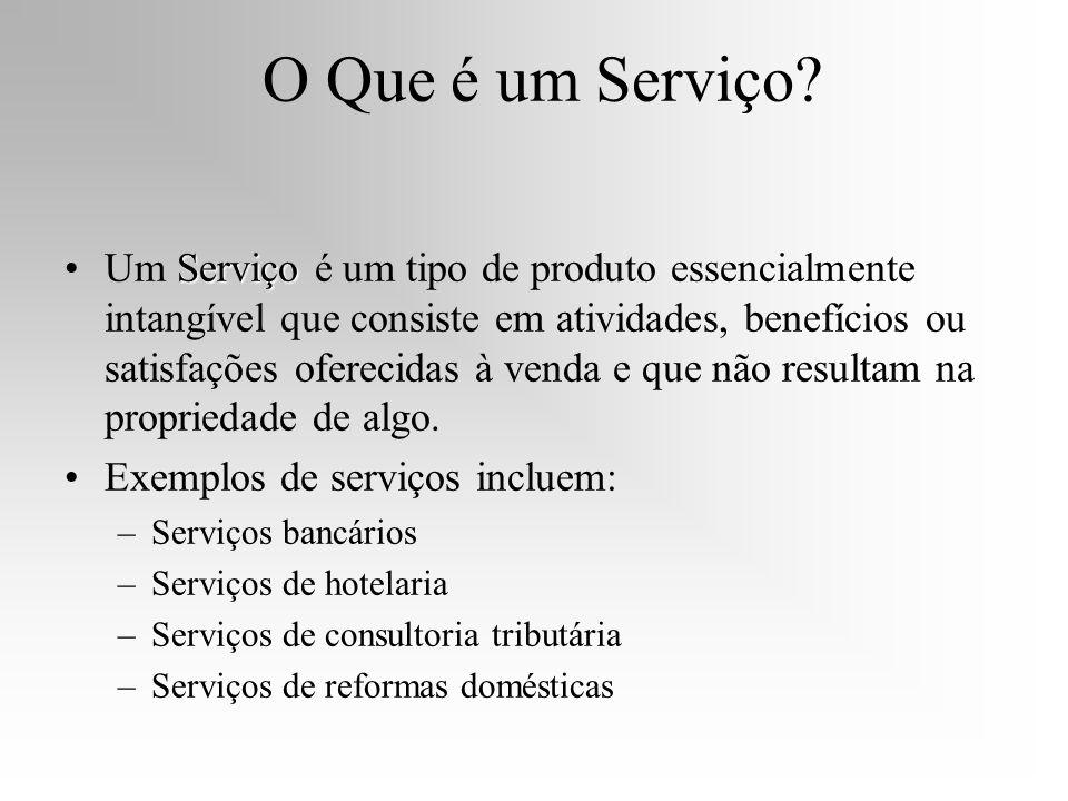 O Que é um Serviço? ServiçoUm Serviço é um tipo de produto essencialmente intangível que consiste em atividades, benefícios ou satisfações oferecidas
