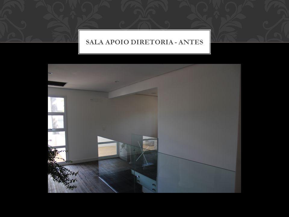 SALA DE DESCOMPRESSÃO - DEPOIS Parede pintada com tinta para quadro negro Varal de Trabalhos e Idéias As paredes devem ser dinâmicas e fornecer um espaço para divulgação de trabalhos internos e externos.