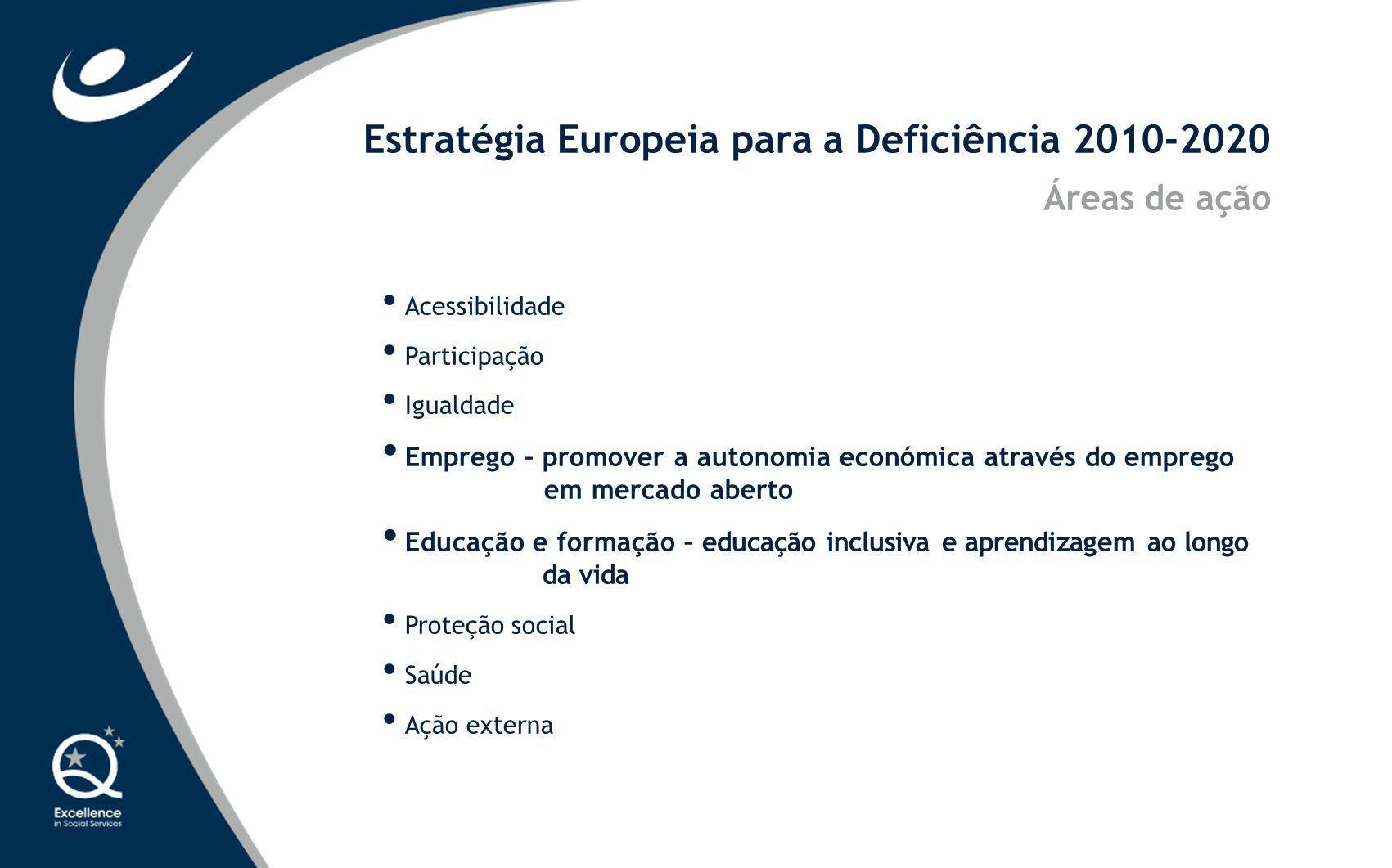 Estratégia Europeia para a Deficiência 2010-2020 Áreas de ação Acessibilidade Participação Igualdade Emprego – promover a autonomia económica através