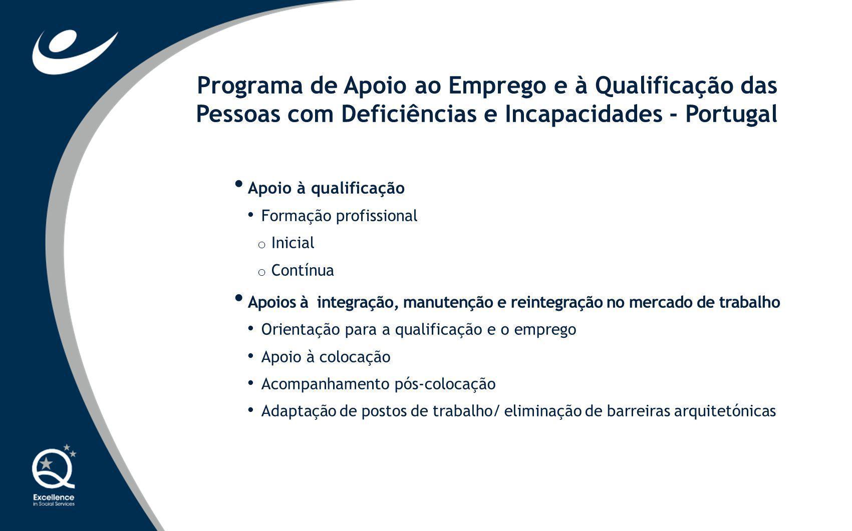 Apoio à qualificação Formação profissional o Inicial o Contínua Apoios à integração, manutenção e reintegração no mercado de trabalho Orientação para