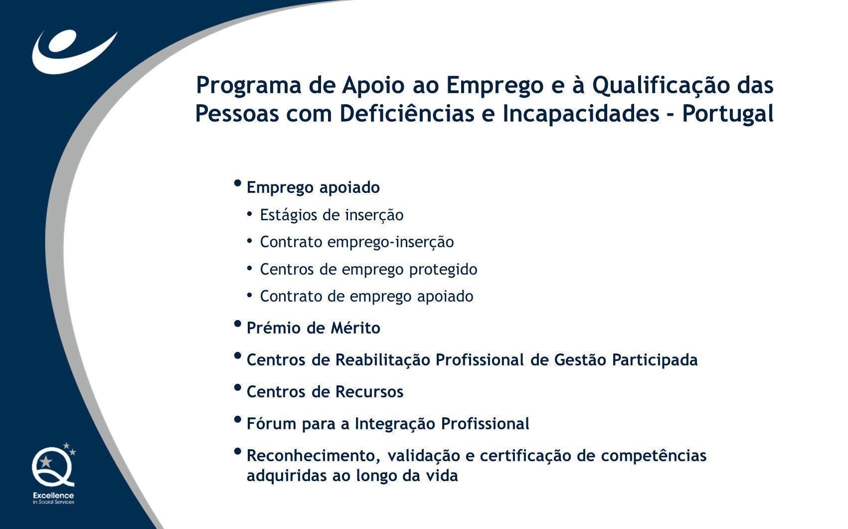 Emprego apoiado Estágios de inserção Contrato emprego-inserção Centros de emprego protegido Contrato de emprego apoiado Prémio de Mérito Centros de Re