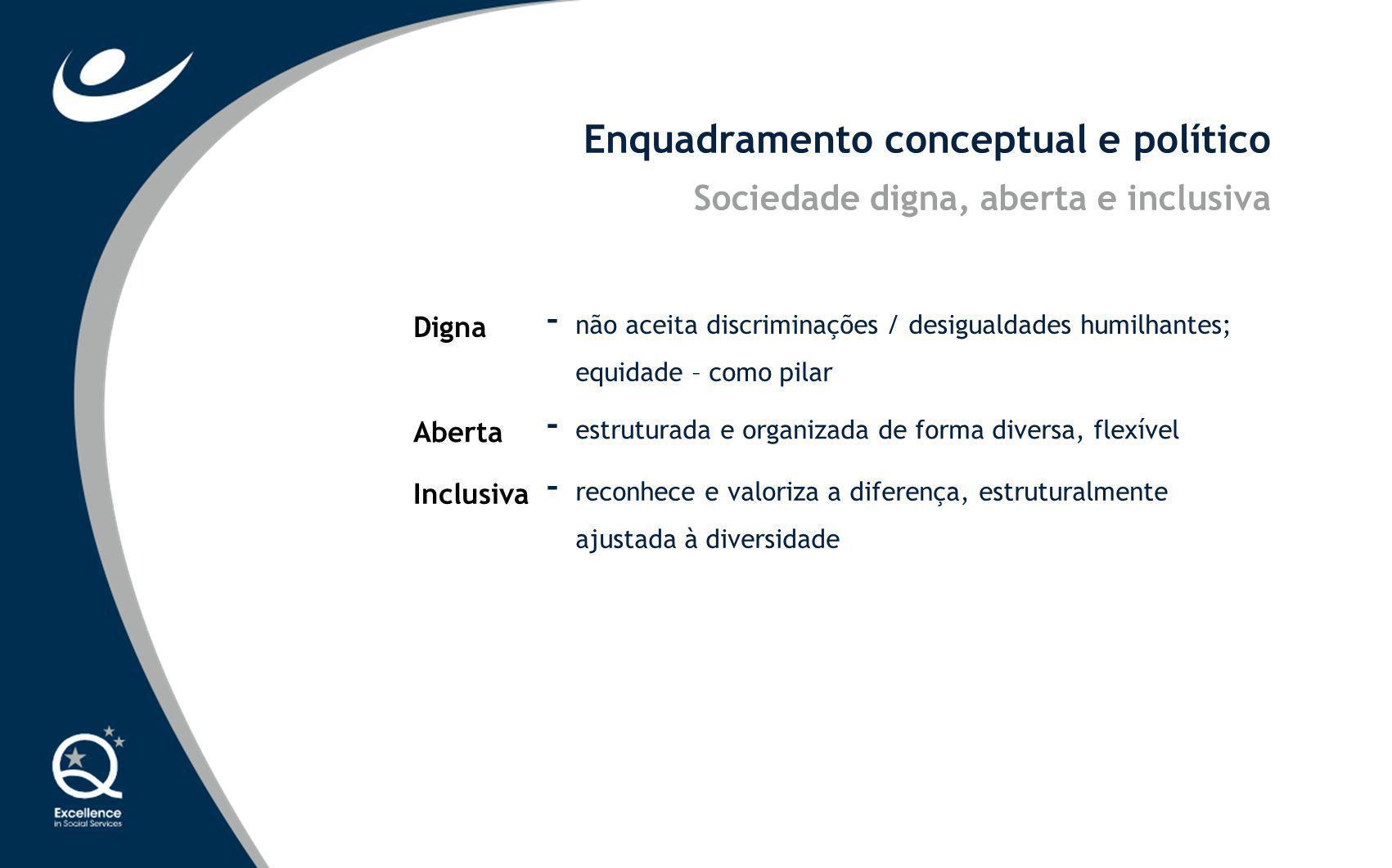 Enquadramento conceptual e político Digna - não aceita discriminações / desigualdades humilhantes; equidade – como pilar Aberta - estruturada e organi
