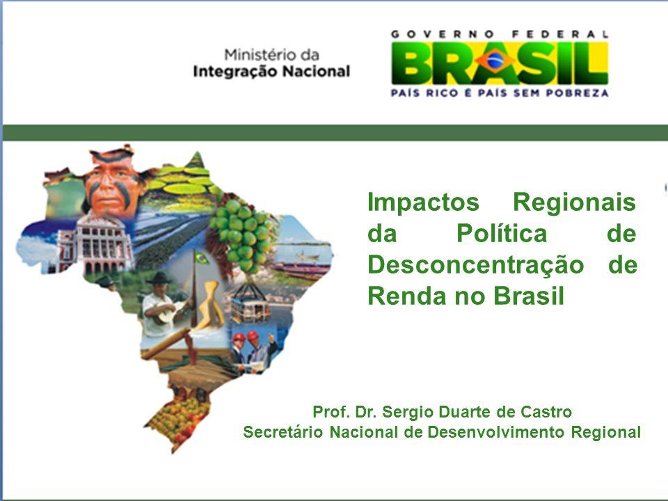 Índice de Theil para o PIB dos estados e macrorregiões (1995-2007) excluindo-se o Distrito Federal revela redução na desigualdade tanto entre as regiões quanto a intra regional Fonte: DIRUR-IPEA