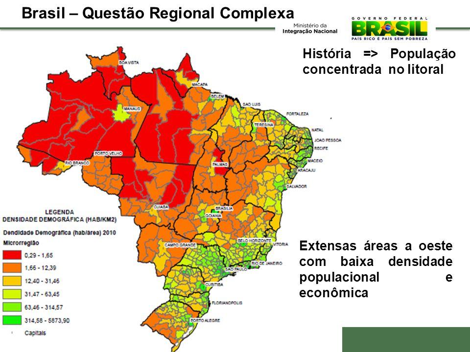 História => População concentrada no litoral Extensas áreas a oeste com baixa densidade populacional e econômica Brasil – Questão Regional Complexa